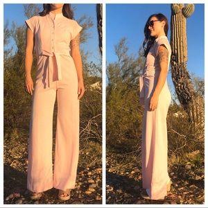 VTG 70s Pink Wide Leg Jumpsuit Small Short Sleeve